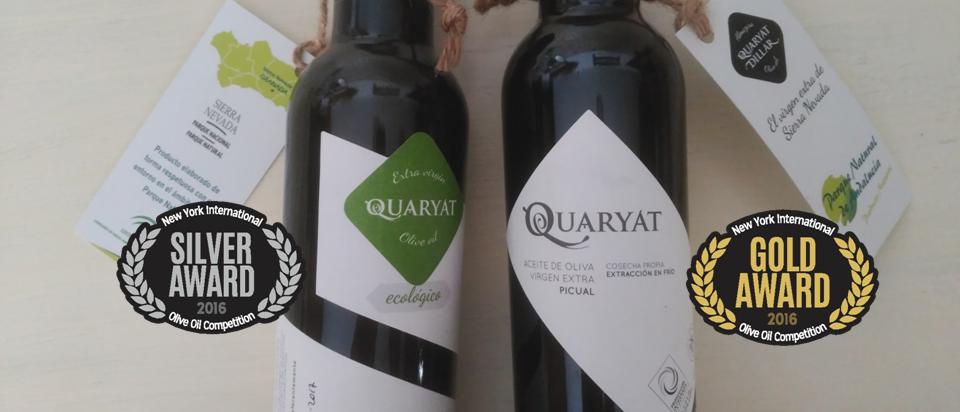 Los aceites de oliva virgen extra Quaryat Picual y Quaryat Ecológico reciben en las medallas de oro y plata del concurso NYIOOC, uno de los más prestigiosos y de más cobertura del mundo. Este premio nos certifica como productores del oro líquido de mayor calidad a nivel mundial.