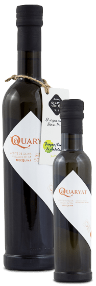 quaryat arbequina extra virgin olive oil. Early harvested olive oil premium quality. 2 bottles in two sizes