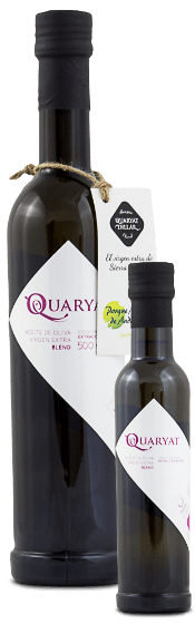 Quaryat extra virgin blend olive oil. Early harvested olive oil from olive trees in Sierra Nevada. 2 black bottles in two sizes 250ml. y 500ml.
