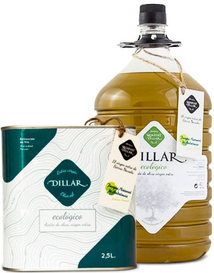 Dillar organic extra virgin olive oil. Organic Sierra Nevada oil in Granada, 5l format and 2.5-liter tin