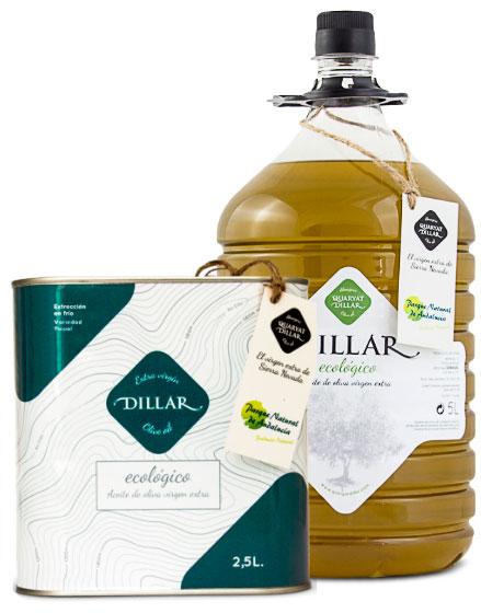 Aceite de oliva virgen extra ecológico Dillar. Aceite de Sierra Nevada en Granada ecologico., Formatos de 5l y lata de 2.5litros
