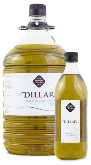 dillar extra virgin olive oil. Origin Sierra Nevada in Grenade. Hight quality olive oil. Photo in two formats PET1 liter and PET 5 liters