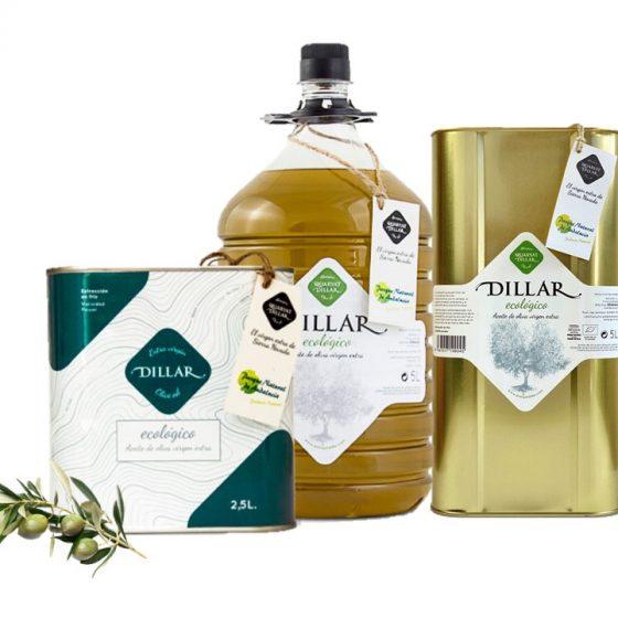 Aceite de oliva virgen extra dillar ecologico. Del parque natural de Sierra Nevada en Granada.