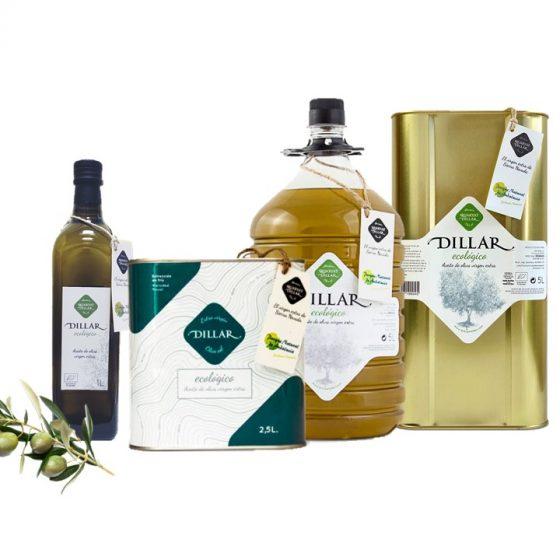 Familia de productos dillar ecologico. Aceite de oliva virgen extra ecologico. Cosecha semi temprana, prensado en frío. Variedades marasca 1 litro, lata de 2.5 y 5 litros y garrafa PET de 5 litros