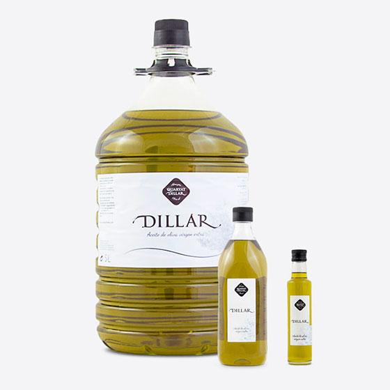 Productos de la gama de aceite de oliva virgen extra Dillar. Garrafa PET 5l, botella PET 1l, cristal 250ml.