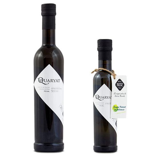 Botellas de aceite de oliva virgen extra Quaryat Picual en dos tamaños