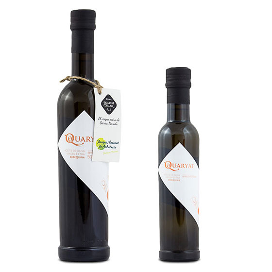 Quaryat Arbequina extra virgin olive oil in two sizes black glass