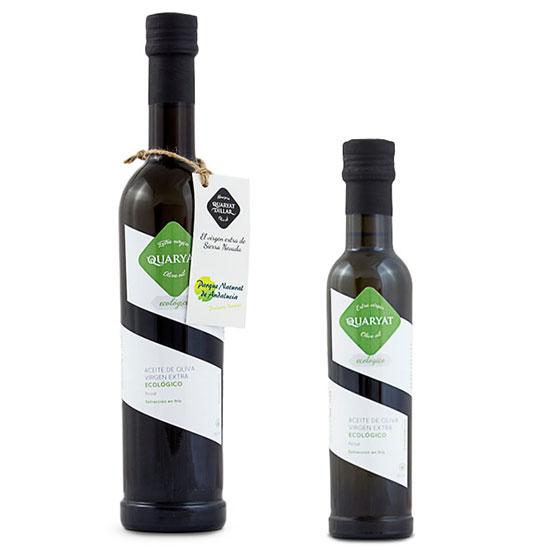 Aceite de oliva virgen extra quaryat ecológico botellas de cristal negro en dos tamaños