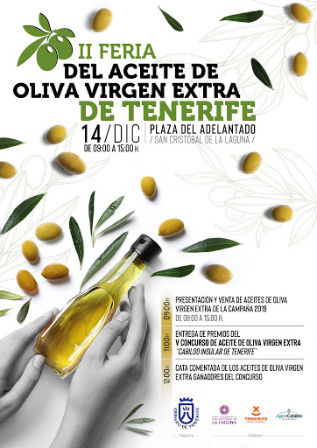 cartel de feria de aceite de oliva virgen extra