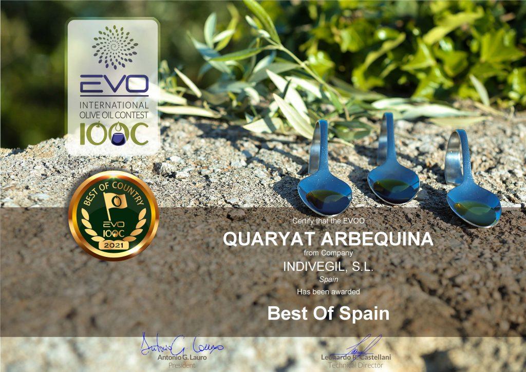 Concurso Evo Iocc. Reconocimiento de Quaryat Arbequina como el mejor aove de españa